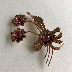 vintage rose gold sterling silver floral brooch